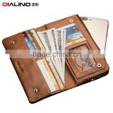 QIALINO New Premium Genuine Leather Wallet Case For iPhone 6 wallet with lock with card holder for iphone 7 phone