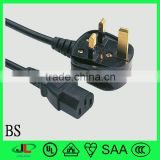 top quality VDE approved BS standard British 3 pin electrical power plug with C13 connector extension cord