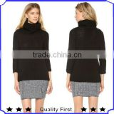 cashmere knit sweater woman design ribbed edges and long sleeves
