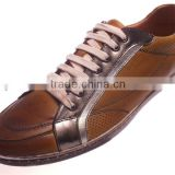 Fashion genuine leather sneakers for men lace-up 2014