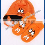 2015 new product china alibaba manufacturer CUSTOM LOGO OEM winter acrylic baby cartoon warm winter set beanie hat gloves