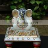 Ganesha marble statue handicraft handmade art painting gift home Decor india God statue Gold leaf work