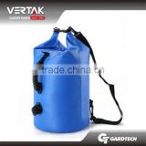 Blue and Yellow Color 25L 500D pvc tarpaulin Sailing waterproof backpack dry bag with 2 shoulders straps