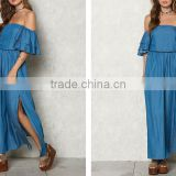 Blue Chambray Off Shoulder Bell Sleeve Maxi Denim Jeans Dress Ladies Western Dress Designs HSd5281