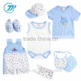 Hot Sale Baby Boys 100% Cotton Blue Romper +Top + Hat 13Pcs Summer Newborn Baby Clothes Set