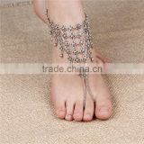 Silver Tone Carved Flower Waterdrop Bell Tassel Simple Finger Anklet Foot Chain