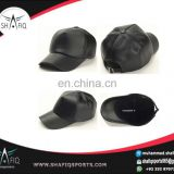 leather baseball caps - fashion black leather snap back cap with 3D Emb