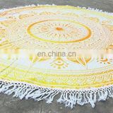 Indian wholesale mandala roundie towel 100% cotton round beach towels Yoga mat Table cloth with tassels fringe