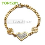 Topearl Jewelry Women Heart Butterfly Bracelet Stainless Steel Gold Bracelet Curb Chain Bracelet 8.5 Inch MEB62