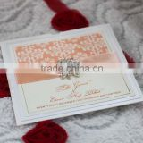 Arabic High Quality Fancy Handmade Ribbon Buckle Wedding Invitation Cards                                                                         Quality Choice