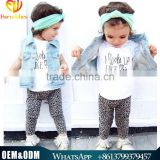 2016 New Design Baby Cloth Children Clothing Summer Kids Cloth Casual Style Casual Baby Girl Letter Printed Wearing Outfits