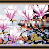 Framed 3d flower oil painting by numbers kits for living room 5053