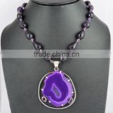 Stripped Onyx & Amethyst Antique 925 Sterling Silver Necklace, Silver Jewellery, 925 Silver Jewellery
