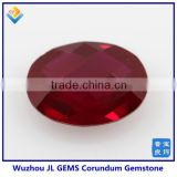 Synthetic oval ruby machine cut #8 -created corundum