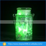 2016 wholesale led green light mason jar glass solar sun jar