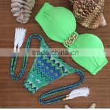 Wholesale Women Plus Size Customized Sexy Lycra Brazilian Crochet Bikini Swimwear Green Printed 2015