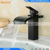 Oil Rubbed Bronze Black Brass Deck Mounted Glass Single Handle Single Hole Bathroom Waterfall Basin Mixer
