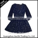 OEM service china dress manufacturer New style rhinestone dark blue long sleeve casual muslim sequin blue dress