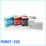 Robot-229 2014 hot portable card speaker,repeat play,fm radio usb sd card reader speaker