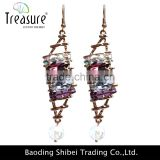 Luxury Fashion jewellry mix color rhinestone hollow alloy long earrings for women fashion jewelry
