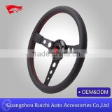 2015 hotsale 350mm fashionable racing car suede/pvc/leather steering wheels wholesale from guangzhou china