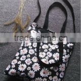 Flower Improved Black Canvas Hand Bag