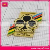 Fashion bright gold foil plated medal with enamel logo