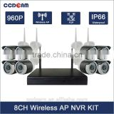 2016 Innovative Product 9CH NVR Wireless KIT 960P Outdoor Night Vision P2P Onvif 1.3MP 2.4ghz 8CH WIFI IP Camera