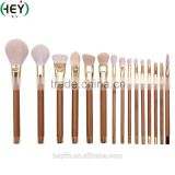 Hot Sell Professional Bamboo Handle High-quality 15PCS Real Goats Hair Makeup Brush Set With Pouch