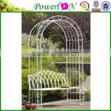 Romantic Wedding Decorative white metal garden arch with bench