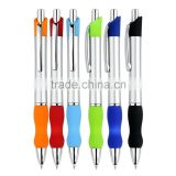 Silver plated barrel with colored rubber on grip and top ball point pen for office writing