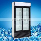 Supermarket equipment refrigeration sliding glass door freezer showcase,600L 2 door upright freezer