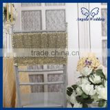 CH018B Wholesale 2015 cheap wedding giltter sparkly gold sequin chair band