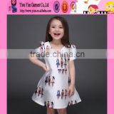 top quality cartoon baby kids traditional dresses satin material sweet girl white ball gown dresses for kids