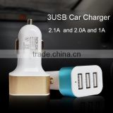 Hot sell 4.1A Max 3 Port USB Car Charger Aluminum Alloy Protable Mini solar mobile phone charger