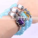 Round Facetd Stone Beaded Bracelets with Pave Crystal Nature Pearl And Mix Color Malaysian Jade Jewelry