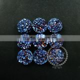 25mm rainbow blue plated druzy quartz irregular surface round stone cabochon for DIY earrings,rings supplies 4110096