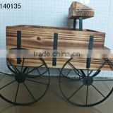 XY140135 old fashioned Wooden Wagon vintage country cart Flower plant pot stand Planter yard Decor Antique Golden