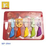5pcs colorful knife non stick blade kitchen knife with pp handle cutting board cheese knife set