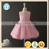 Summer frock designs pictures Baby girls one-piece party dresses Sleeveless Puffy Applique Pink Flower Shiny performance dress