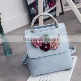 Embroidered shoulder bag genuine PU female bag college backpack exquisite flowers new wild Korean youth handbags 14153