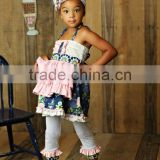 Newest summer persnickety remake Girls Boutique outfit Children Floral Ruffle Princess Dress and stripe capris set