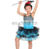Cutie four-tiered stretch turquoise blue children ballet tutu dress with glitter ET-027#
