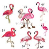 Hot sale fashionable Suitable for tropic zone patch flamingo embroidery textile patches for fashion clothing