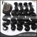 Top quality weave with closure 4x4 size raw mongolian hair lace closure virgin hair bundles raw unprocessed hair