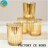 Online /Striped Rose Gold Votive Holder / Art Tealight Holder/Candle Jar For Wedding Decor