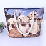 China supplier wholesale digital dog printing handbag women canvas bag