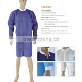 Disposable Lab coat knitted collar and cuff medical lab coat