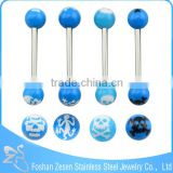 Blue Resin Double Ball Body piercing jewelry Fake Piercing Tongue Ring