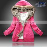 Custom Winter Fashion Coat Women Hoodies Fox Fur Warm Casual Hoodies Long Sweatshirts Fleece Jacket Women